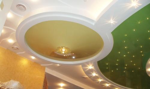 вариант освещения потолка из гипсокартона