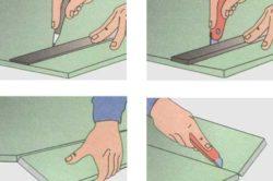 Схема резки гипсокартона канцелярским ножом