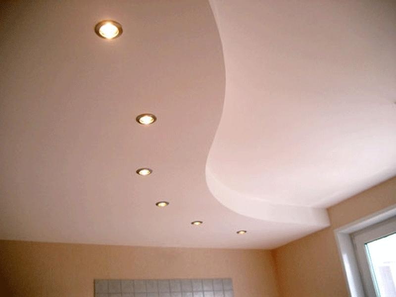 Волнообразный двухуровневый потолок из гипсокартона.