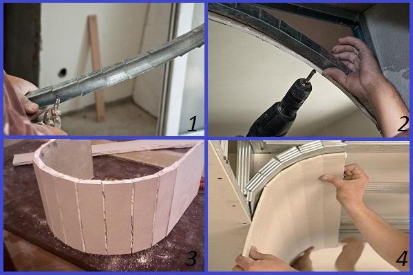 Технология монтажа каркаса из металлопрофиля для фигурных элементов